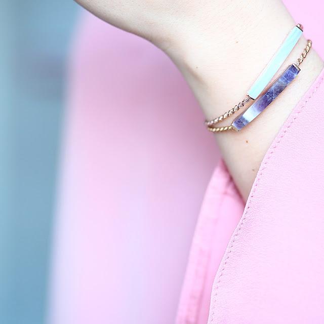 Monica vanilla linear stone bracelets
