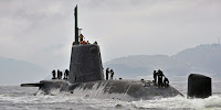 A British nuclear submarine returns to base from the north Atlantic. (Image Credit: LA(Phot) Paul Halliwell/MOD via Wikimedia Commons) Click to Enlarge.