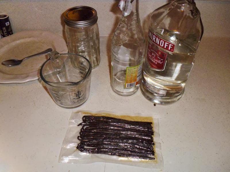 Materials needed to make vanilla extract