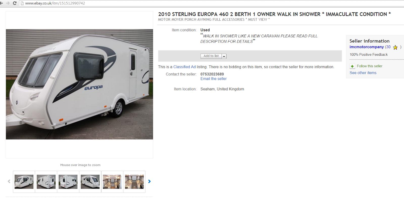 Ebay Scam Sterling Europa 460 Caravan Fraud On Ebay 03 Mar 15