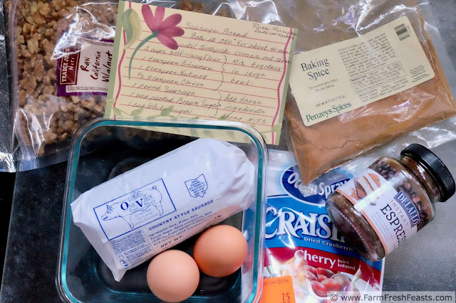 the ingredients to make sweet sausage bread