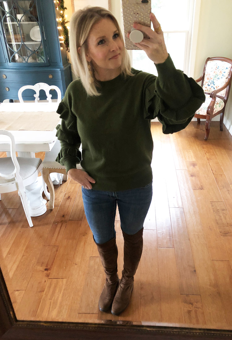 olive ruffle sweater with skinny jeans and over the knee boots
