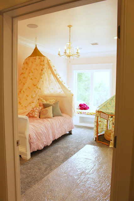 Home tour: Pink paint color for girls room