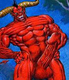 """L'image est un dessin du diable très rouge sur fond de ciel bleu. Ce Mephistopheles arbore un magnique sexe turgescent et veiné qu'il tend fièrement vers l'avant comme un rostre ou une arme de destruction massive. L'expression de ce Satan est terrifiante, celle d'une joie mauvaise, on pressent qu'il compte utiliser son engin à des fins diaboliques et makéfiques. Cette image amusante illustre admirablement le poeme """"Belzebuth"""" du Marginal Magnifique dans lequel le grand poete compare avec humour le fait d'aller au boulot avec une penetration anale faite par le diable. C'est l'occasion pour le poete de developper de maniere originale ses idees habituelles : lâcheté des gens, esclavagisme du au travail, besoin de s'evadre par la production artistique, etc... Un grand poeme !"""