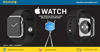 Apple Watch 42mm Stainless Steel Case with Black Sport Band (MLC82)