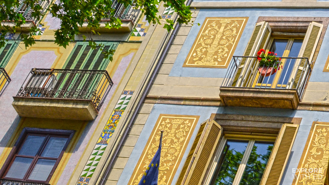 Barcelona townhouses along La Rambla, Pretty Spanish balconies