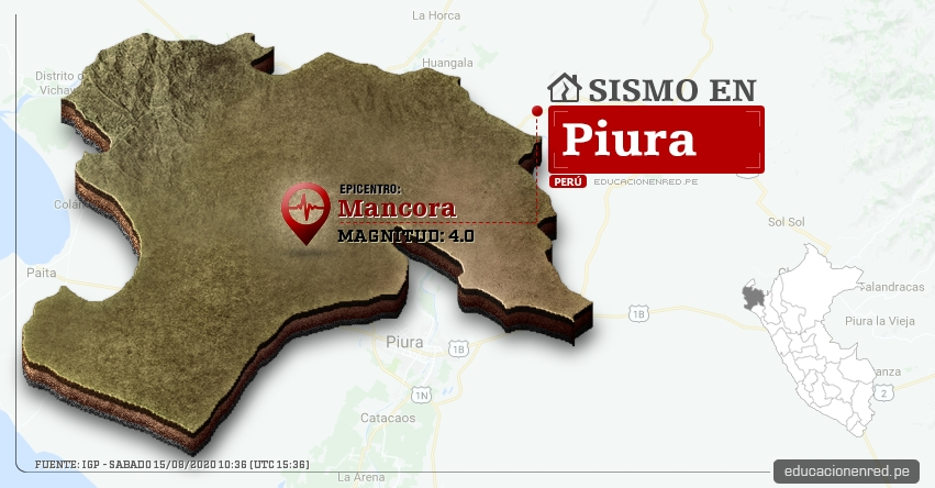 Temblor en Piura de Magnitud 4.0 (Hoy Sábado 15 Agosto 2020) Sismo - Epicentro - Mancora - Talara - IGP - www.igp.gob.pe