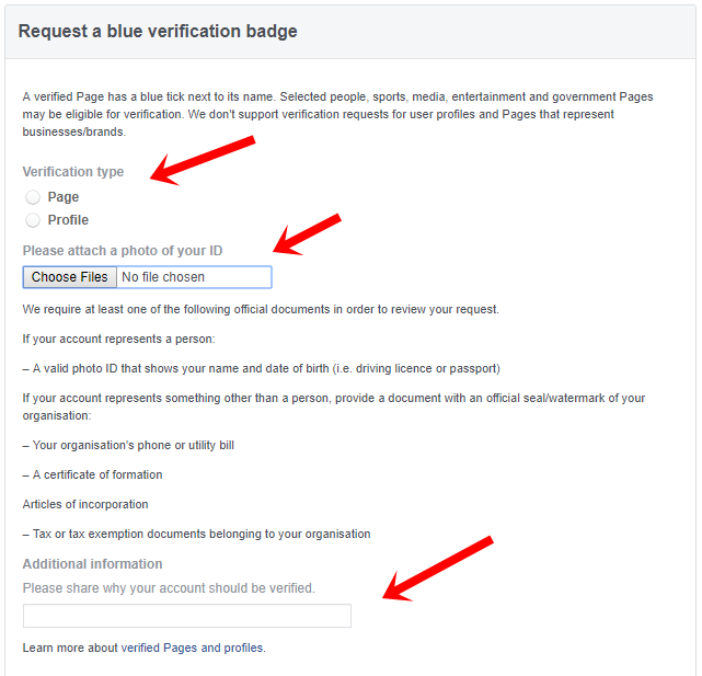 Verify Facebook Profiles or Pages to Get a Blue Or Gray Badge