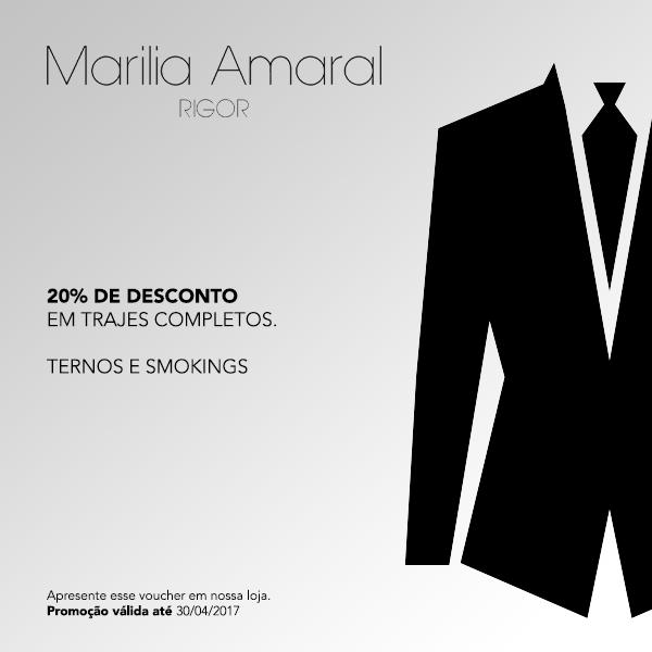 Promoção em trajes completos para homens na Marília Amaral Rigor