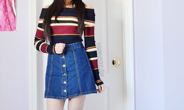 Details on the button-front denim A-line skirt from SheIn, similar to the American Apparel and Brandy Melville skirts, paired with an off-shoulder knit top for a Japanese Snidel-esque look.