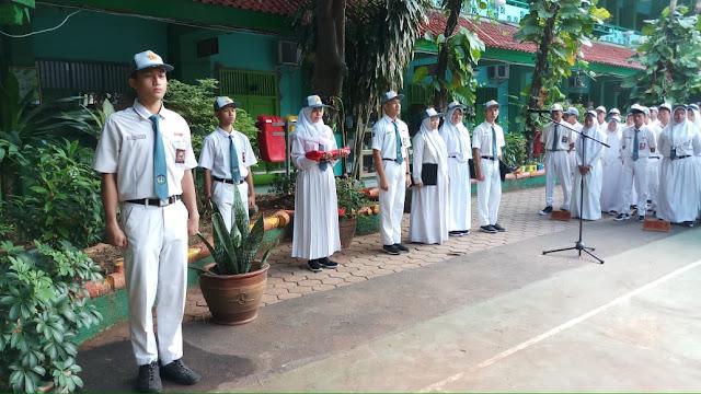 upacara bendera awal semester genap 2018-2019 SMAN 110