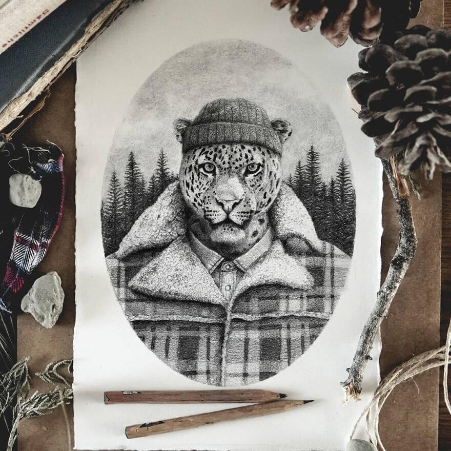 11-Lumberjack-Leo-Mike-Koubou-Animal-Family-Album-Portrait-Drawings-www-designstack-co