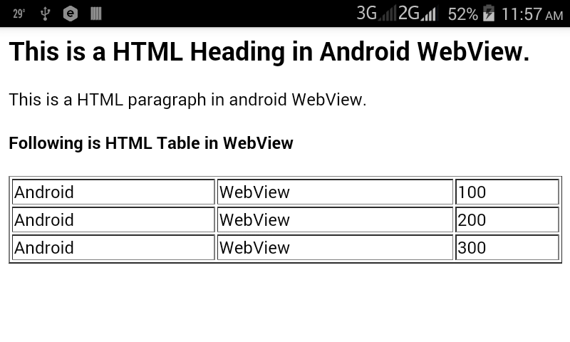 Android Example: Load HTML Data/String on Android WebView App