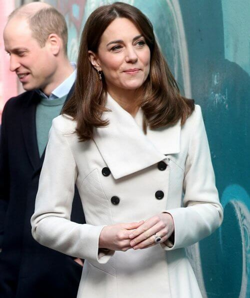 Kate Middleton wore Reiss Olivia double breasted coat, Equipment slim signature polka dot shirt, Russell and Bromley boots