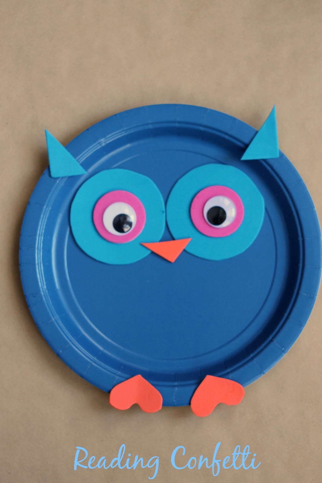 colorful paper plate owl paper plate owl craft reading confetti 3677