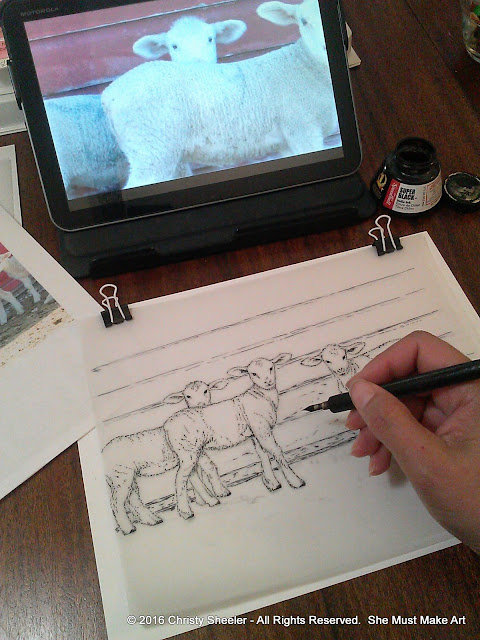 I continue with the quill pen and India ink, creating textures for the lambs' wool and barn boards.