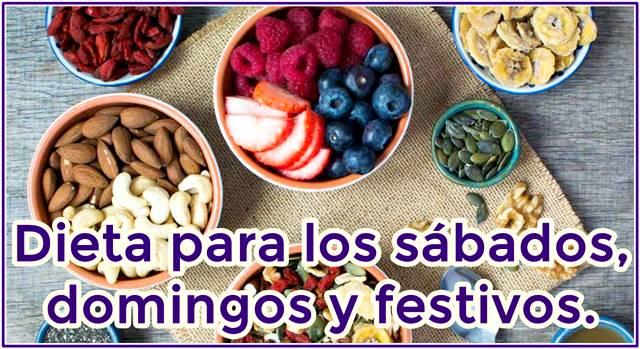 Ejemplos de alimentos y bebidas para la dieta del sábado y domingo