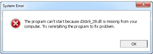 Télécharger D3dx9_28.dll Fichier Gratuit Installer