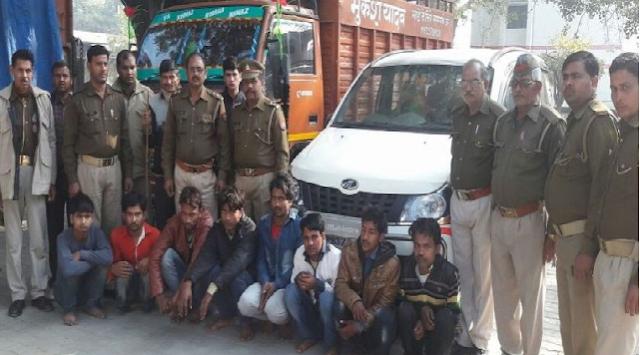 कुशीनगर पुलिस ने पकड़ा पशुओं से भरा कंटेनर