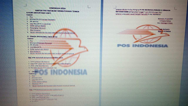 Lowongan kerja Kantor Pos Mataram