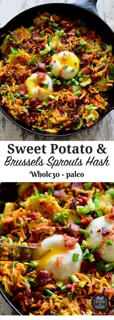 Sweet Potato & Brussels Sprouts Hash With Bacon