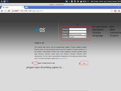 Kemudian jika sudah buka browser lalu akses ip default ubnt yaitu 192.168.1.20 dan > masukkan username : ubnt password ubnt kemudian pilih > country indonesia dan > bahasa english lalu > centang agree lalu > login