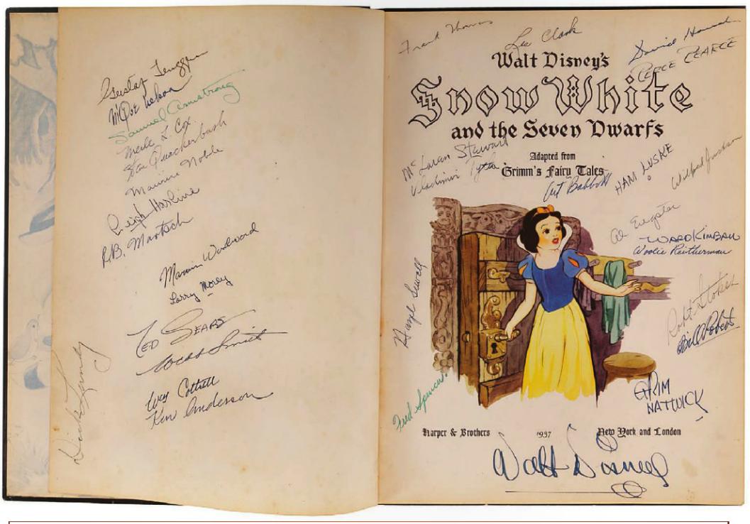 Libro Del 1937 Firmato Da Walt Disney Curiosita Disney