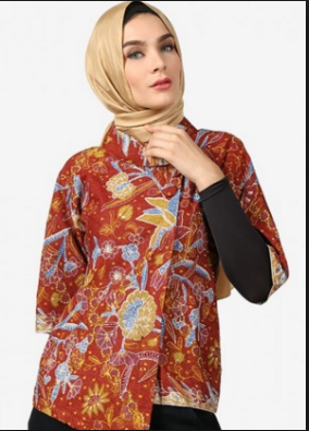 Model Baju Kemeja Batik Wanita Gambar Bunga Terbaru