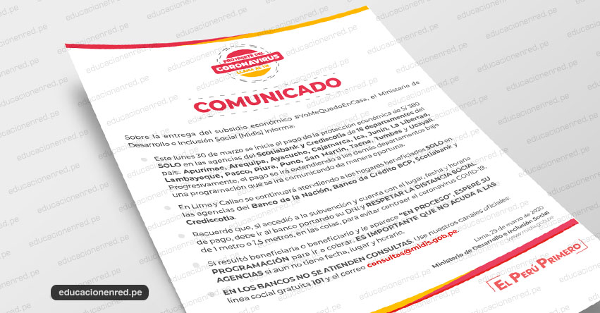 MIDIS: Comunicado Oficial sobre atención este Lunes 30 de Marzo para el cobro del Bono de S/ 380