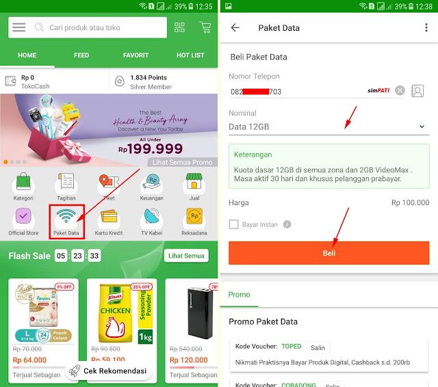 Cara Membeli Paket Data Internet di Tokopedia via Aplikasi 11