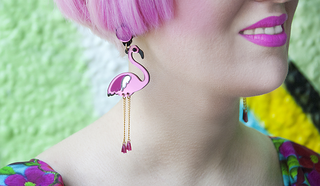 Fabcessories, flamingo earrings, pink girl