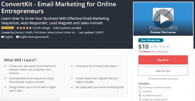 [BESTSELLING][95% Off] ConvertKit - Email Marketing for Online Entrepreneurs| Worth 195$