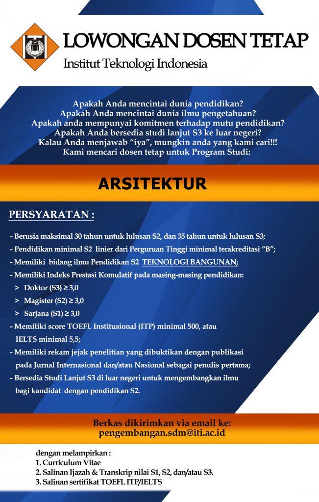 Lowongan Dosen Tetap Arsitektur Institut Teknologi Indonesia (ITI) Banten
