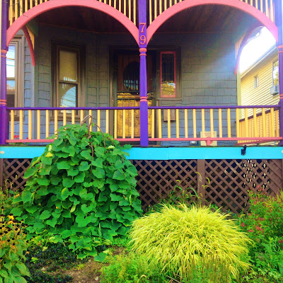 A colorful porch in Boston's Roslindale neighborhood