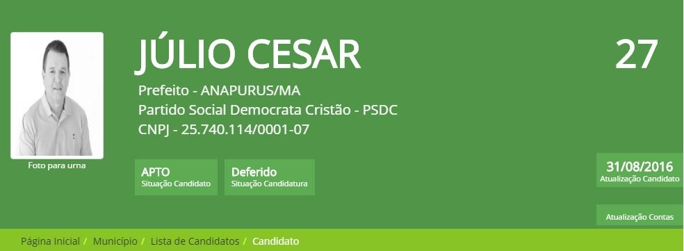 Não há mais impedimento! Júlio César tem candidatura deferida pela Justiça Eleitoral, agora, é no voto a voto.