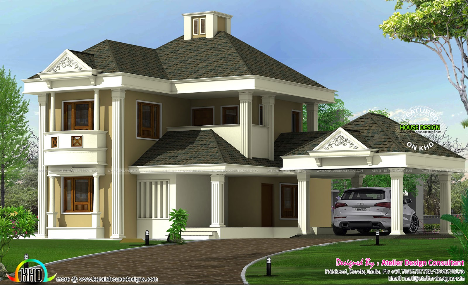 Cute colonial style sloped roof home in 2600 sqft kerala for Colonial style house plans kerala