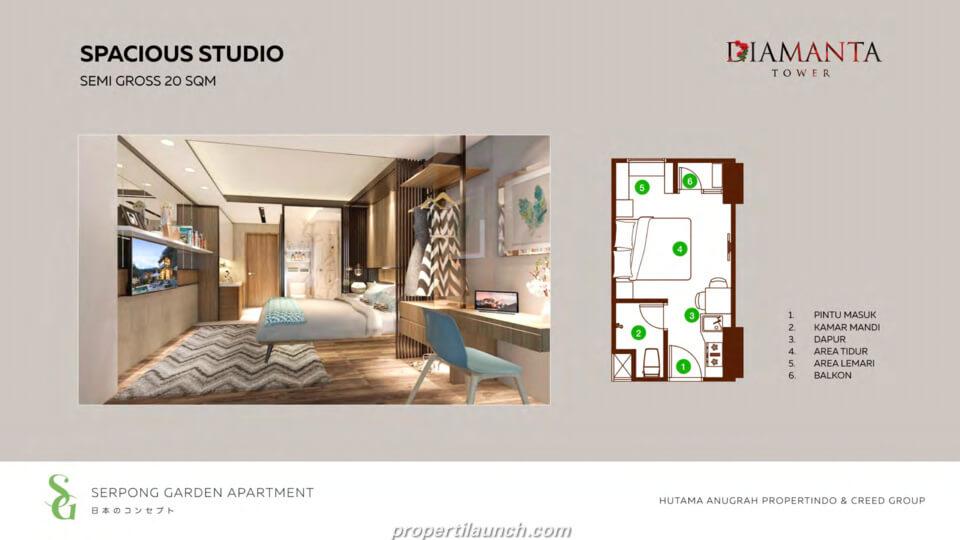 Tipe Studio Apartemen Serpong Garden