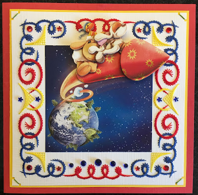 Nieuwjaarskaart geborduurd op papier / paper embroidered New Year card