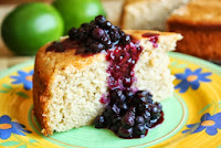 Lime Yogurt Cake with Huckleberry Sauce