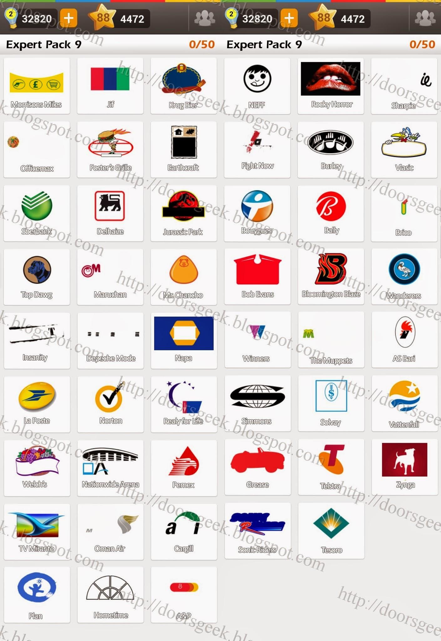 Logo Game: Guess the Brand [Expert] Pack 9 ~ Doors Geek