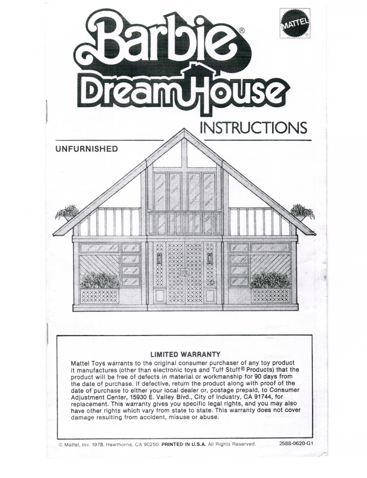 Paperwork 1978 A Frame Unfurnished Dream House Instructions