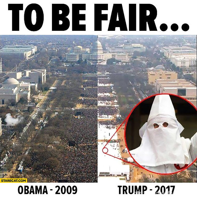 Meme comparison of Obama and Trump inauguration crowds. KKK hoods hidden by white tarps. Memento Mori and YOL. Other stories of Trump and Megalomaniacs. marchmatron.com