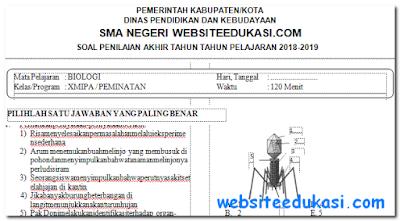 Soal PAT/UKK Biologi Kelas 10 K13 Tahun 2018/2019