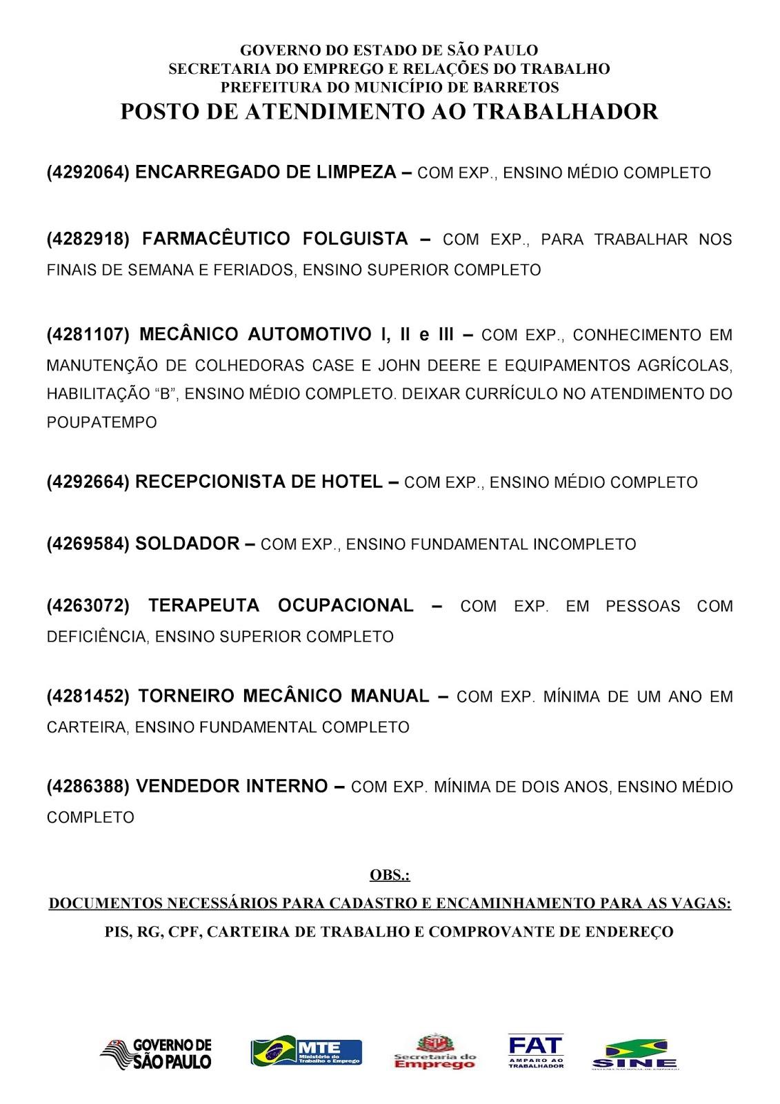 VAGAS DE EMPREGO DO PAT BARRETOS-SP PARA 07/11/2017 TERÇA-FEIRA - PAG.2