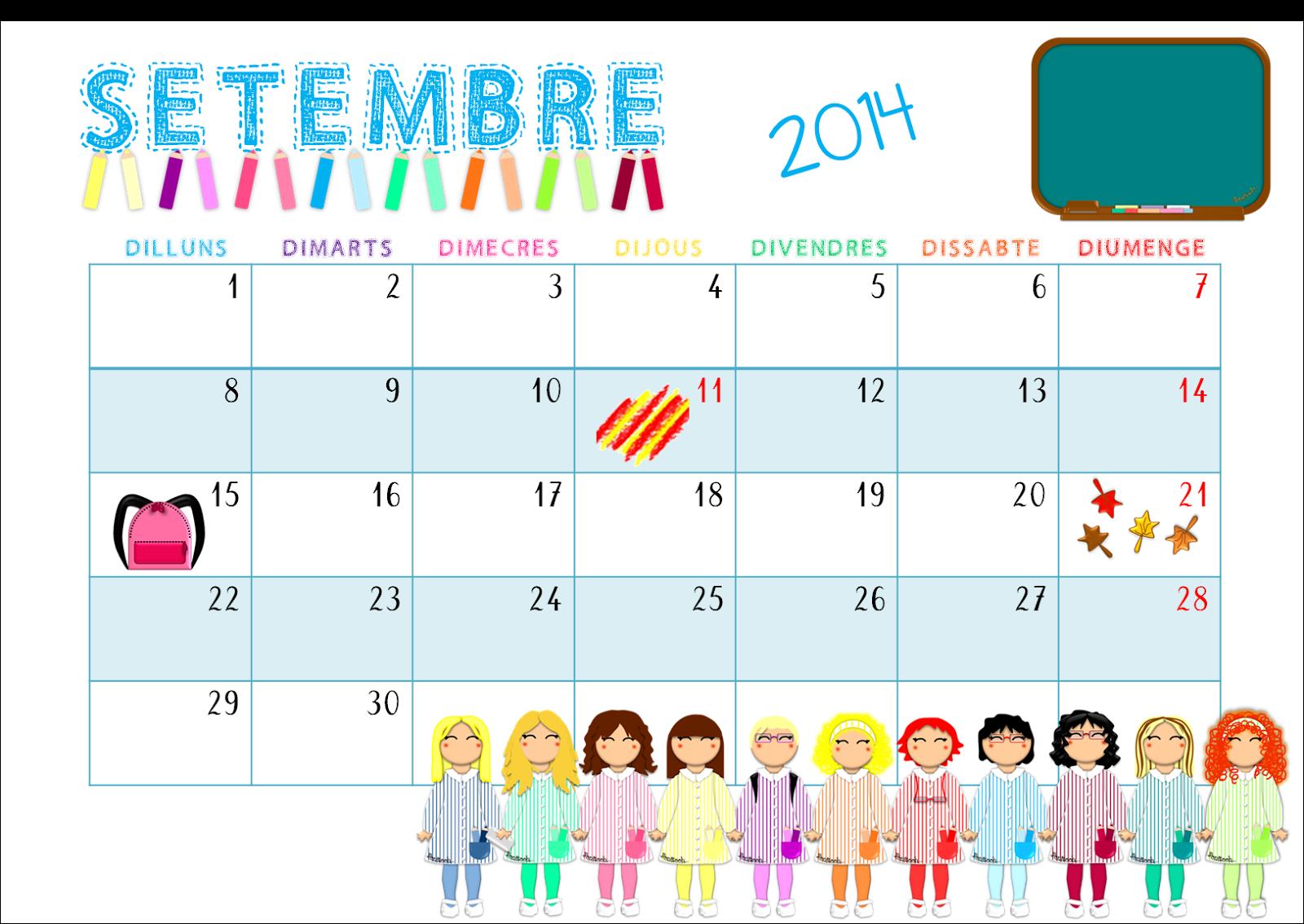 Calendario Dibujo Septiembre.Que Hacemos Hoy En El Cole Calendario Setembre Septiembre