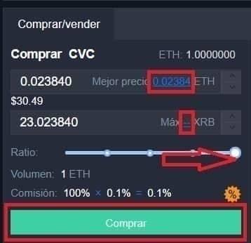 Comprar CIVIC (CVC) en kucoin exchange web