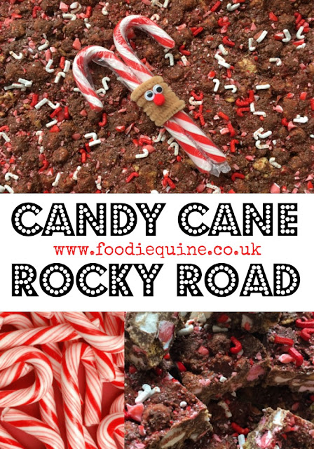 www.foodiequine.co.uk Rocky Road just got festive. Smashed up red and white Christmas Candy Canes bring a minty twist to this quick and easy to make no bake treat. Mint, chocolate, marshmallow and biscuit is a winning culinary combination.