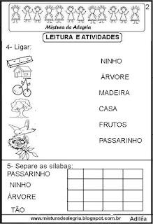 Texto pequeno alfabetização sobre árvore
