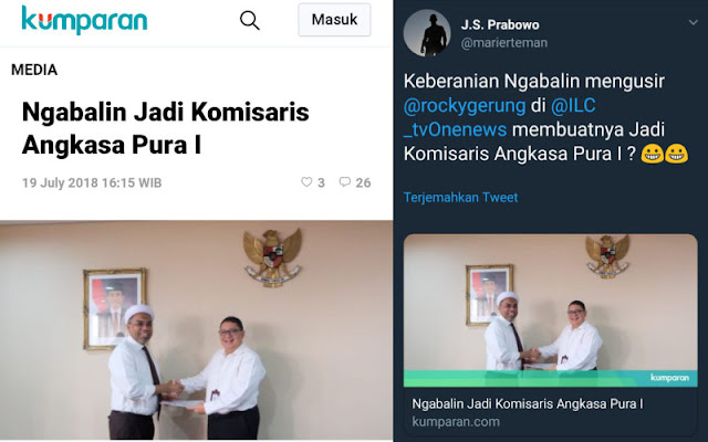 Ngabalin Jadi Komisaris Angkasa Pura I, Begini Sindiran Telak Suryo Prabowo