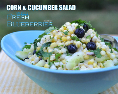 Corn & Cucumber Salad with Fresh Blueberries, another easy summer salad ♥ AVeggieVenture.com. Weight Watchers Friendly. Low Carb. Vegan.